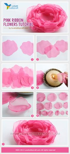 Pink ribbon flowers tutorial. Use the ribbon i have collected from my anniversary!!