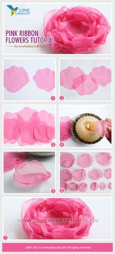 Pink ribbon flowers tutorial.