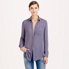 "The one everyone needs in their closet—sleek and drapey with a slightly longer length. <ul><li>Body length: 30"".</li><li>Silk.</li><li>Long sleeves.</li><li>Chest pocket.</li><li>Dry clean.</li><li>Import.</li><li>Online only.</li></ul>"