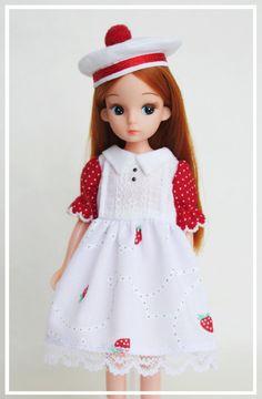 Beautiful Licca Doll in handmade dress