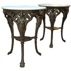 French Cast Iron & Marble Garden Tables | From a unique collection of antique and modern side tables at https://www.1stdibs.com/furniture/tables/side-tables/