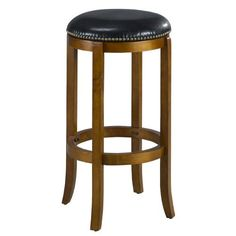 Mintra Dark Oak Finish Bicast Leather 29-Inch Swivel Barstool by MINTRA. $74.99. Upholstery materials: premium bi-cast leather covers; black leather upholstery. Dimension: 29-inch high by 17-inch in diameter; seat height: 29-inch. Assembly required, available also in dark oak, cappuccino, and cherry finish. Solid woods construction in dark oak finish. French legs with tapered bottoms: full ring footrest for strength and stability. Perfect for refined entertaining,...