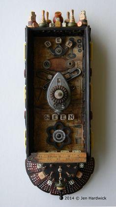 """""""Bee Queen"""" -Recycled art assemblage/Box art by Jen Hardwick jen-hardwick.com www.etsy.com/shop/redhardwick"""