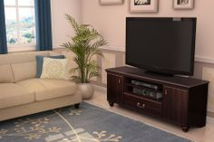 Traditional TV Stand Mahogany 60-in Television Entertainment Storage Media Unit #Traditional