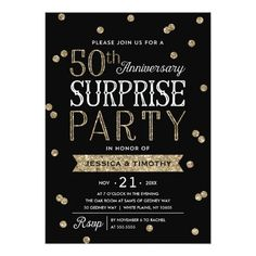 Black damask surprise party invitation printable or printed with 50th anniversary glitter confetti surprise party invitation stopboris Image collections