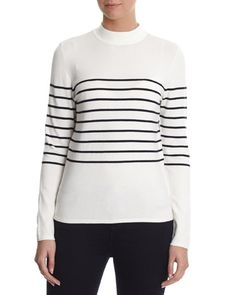 winter-white Funnel Neck Striped Jumper