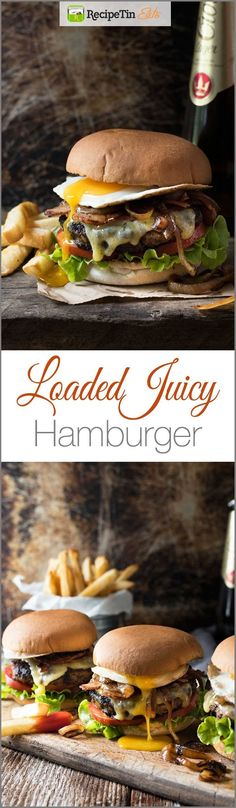 Loaded Beef Hamburgers - Juicy, towering, EASY, it's for midweek or your next grill out! (hamburger beef recipes for dinner) Burger Dogs, Burger And Fries, Beef Burgers, Good Burger, Bbq Burger, Gourmet Burgers, Burger Bread, Burger Perfect, Side Dishes
