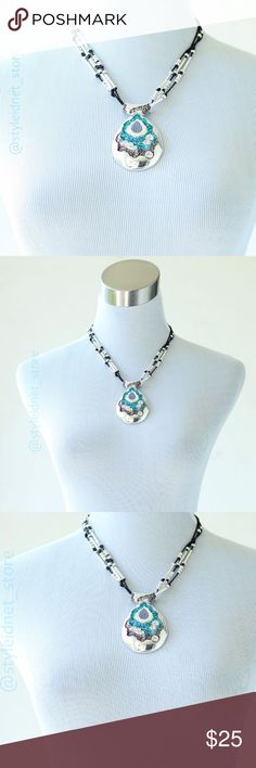 """Rhinestone Turquoise Bohemian Chic Necklace ❤️ BUNDLES  ❤️ DISCOUNTS  ❌ NO TRADES  ❌ NO Low balling!  • RETAIL •  *MEASUREMENTS: - Length: at longest with pendant 24.5"""" Approximately - Length: at shortest with pendant 24"""" Approximately Jewelry Necklaces"""