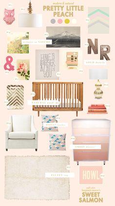 peach baby nursery inspiration style board