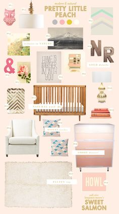 Love the warm feel and very feminine colors on this nursery. Would be easy to transition to a kids room. Plus, there's that ombre dresser I pinned before! Lay Baby Lay: pretty little peach