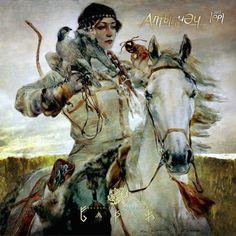 "VALIANT (Painting of a Volga-Bulgar warrior woman (""Сокол"", by artist Bulat Gilvanov, a painter from Tatarstan) Equine Art, Art Graphique, Horse Art, Art Plastique, Larp, Illustrators, Fantasy Art, Fairy Tales, Illustration Art"