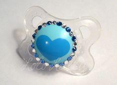 Baby Bling Sapphire and Diamond Swarovski Crystal Rhinestone Mam Newborn Pacifier / Binky - Ready to Ship. $16.00, via Etsy.