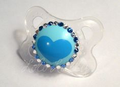 Baby Bling Sapphire and Diamond Swarovski Crystal Rhinestone Mam Newborn Pacifier / Binky - Ready to Ship. $16.00, via Etsy.