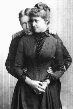 "The sweetest picture ever made for a royal engagement - Princess Irene of Hesse and Prince Heinrich of Prussia.  Irene didn't tell to Queen Victoria her intent to marry Heinrich, knowing the Queen would have disproved the union. Afterward Queen Victoria called Irene ""naughty"" for breaking her word not to become engaged to Henry. The Hohenzollerns didn't regard the Battenbergs as sufficiently royal. The happily couple were married on 24th May 1888."