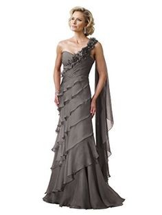 Montage 211908 Mother of the Bride One Shoulder Tiered Long Chiffon Dress - size 10 Peweter