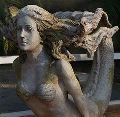 ♒ Mermaids Among Us ♒ art photography paintings of sea sirens & water maidens - mermaid gathering moss Mermaid Fairy, Mermaid Tale, Ship Figurehead, Statues, Sea Siren, Mermaid Pictures, Mermaids And Mermen, Mermaids Exist, Art Sculpture