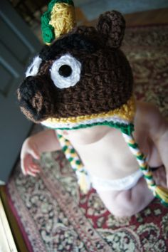 Baylor Bear Custom Hat- Baylor University Colors in the braided tails and sailor hat. $35.00, via Etsy.