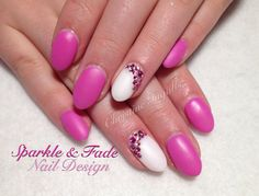 Amore Ultima Gel - Fairytale Pink and Primary White with Rhinestone accents - Done by Christine Ingalls of Sparkle and Fade Nail Design  https://www.facebook.com/SparkleAndFadeNailDesign