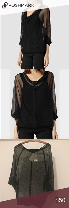 NWT all saints sweater Brand new never worn. Shear light weight sweater. Relaxed looser fit. 100% viscose All Saints Sweaters