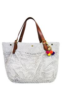 crochet straw bag with leather