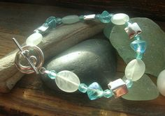Ocean Wave summer souvenir Czech glass sterling by kmaylward