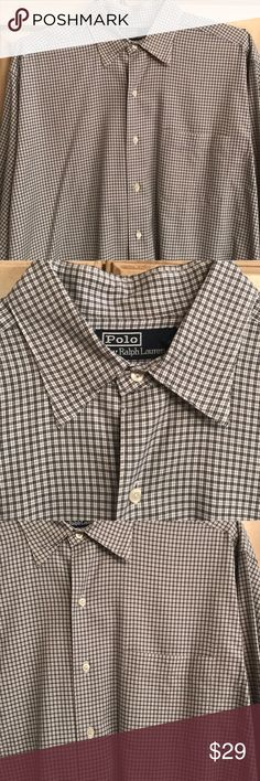 Polo by RLauren mens black/white plaid shirt M Black and white shirt. Perfect condition medium button front. Long sleeve Polo by Ralph Lauren Shirts Dress Shirts