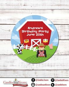 Farm Boy Personalized Round Birthday Party Sticker Labels - Available in 10 Different Sizes Farm Animal Party, Farm Party, Farm Birthday, It's Your Birthday, Sand Candles, Baby Farm Animals, Round Labels, Round Stickers, Party Gifts