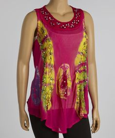 Another great find on #zulily! Hot Pink & Yellow Embellished Tunic - Plus by Metro 22 #zulilyfinds