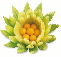 make a flower out of a melon