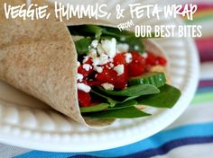 Veggie, Hummus, & Feta Wrap from Our Best Bites! Healthy, quick, & YUM!