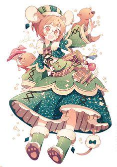 森ガールちゃん Anime Chibi, Manga Anime, Manga Kawaii, Pelo Anime, Kawaii Art, Kawaii Anime Girl, Anime Art Girl, Manga Art, Cute Characters