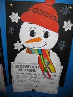 Classroom Fun: snowmen at night