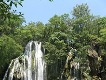 Tamasopo Waterfalls - near Ciudad Valles in San Luis Potosi, Mexico;   a group of three waterfalls that form a 65 foot waterfall that falls violently into a 16 foot deep well;  photo by Tucayo