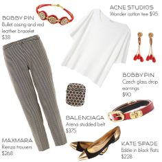 Can't wait for spring outfit   Featuring Bobby Pin Jewelry's bullet casing and leather bracelet & Czech glass drop earrings. Balenciaga belt, Kate Spade shoes, Maxmara trousers, and Acne shirt. #outfit #outfitoftheday #fashion #style