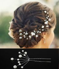Set 5 Forcine Perle Matrimonio Tiara Diadem BIANCO Sposa Accessorio per capelli