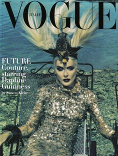 """Blue-blooded socialite, style-icon and haute-couture maniacal collector Daphne Guinness plays the main part in the """"Future Couture"""" fashion editorial featured in Italian Vogue. Description from pinterest.com. I searched for this on bing.com/images"""