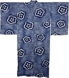 Shibori Yukata, Japanese Kimono Light summer cotton kimono are called a yukata. It is patterned with resist tie-dyeing technique called shibori in Japan. The pattern is ume plum blossoms on a dappled ground.