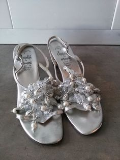Vintage 1960s Silver Sandals Jeweled Pearls by bycinbyhand on Etsy