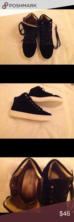 Nine West women's high top velvet shoes. Size 8.5 Nine West women's high top bootie sneakers. Black velvet with gold colored interior and lace holes. Brand new, never worn. Nine West Shoes Ankle Boots & Booties