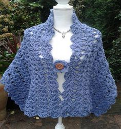 Crochet a shawl Designs    This Shawl denim blue fabric, Conquista most women, mesh is vers...
