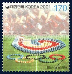 Millennium Series (11th), 1988 Summer Olympics, emblem, Symbol, Blue, Red, Green, 2001 07 02, 밀레니엄시리즈(열한번째묶음), 2001년 7월 2일, 2171, 88서울올림픽, Postage 우표