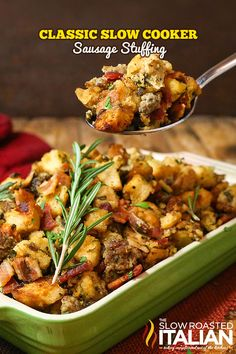 Classic Slow Cooker Stuffing starts with sausage, bacon and fresh herbs. An American favorite now comes to you in a simple crockpot recipe. With options for a simple prep of this dish you can have it ready to cook in about 10 minutes. Now, you can't beat that! Stuffing that is bursting with flavor is sure to be the star of the show. Sorry turkey!