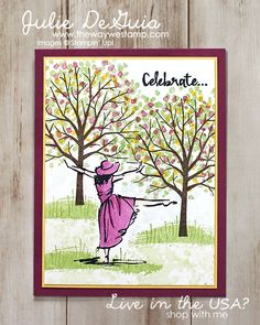 www.thewaywestamp.com Handmade Cards - Celebrate card with Beautiful You and Sheltering Tree stamp sets by Stampin' Up!   Rubber Stamps   Handmade Cards   The Way We Stamp   Julie DeGuia