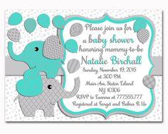 Turquoise grey Elephant baby shower by PinkRockPrintables on Etsy