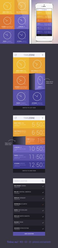 #flat #design #UI Time Zone App Concept by GraphicBurger , via Behance