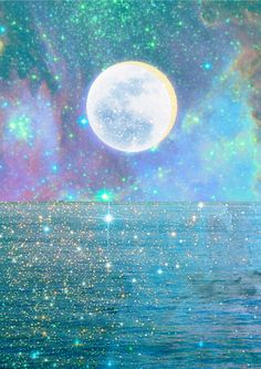 Sparkling, moon shines over water.