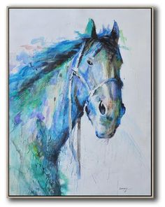 CZ Art Design - Hand painted Large Horse Oil Painting on canvas, abstract horse animal art. @CelineZiangArt