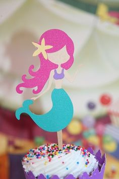 MERMAID Cupcake Toppers Rainbow Mermaids Birthday Party Set of 12 with Kawaii Sun and Rainbow Heart