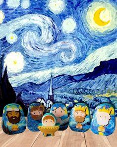 Van Gogh, Box Van, Nativity, Night, Modern, Artwork, Great Gifts, Bedside Tables, Xmas