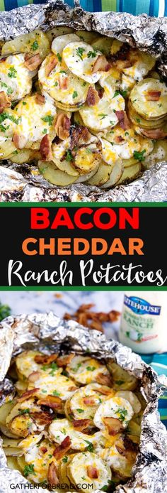 Bacon Ranch Grilled Potatoes {with Video} - Gather for Bread Potato Dishes, Food Dishes, Dinner Dishes, Dinner Menu, Grilled Potato Recipes, Salmon Recipes, Tilapia Recipes, Grilled Side Dishes, Side Dishes For Burgers